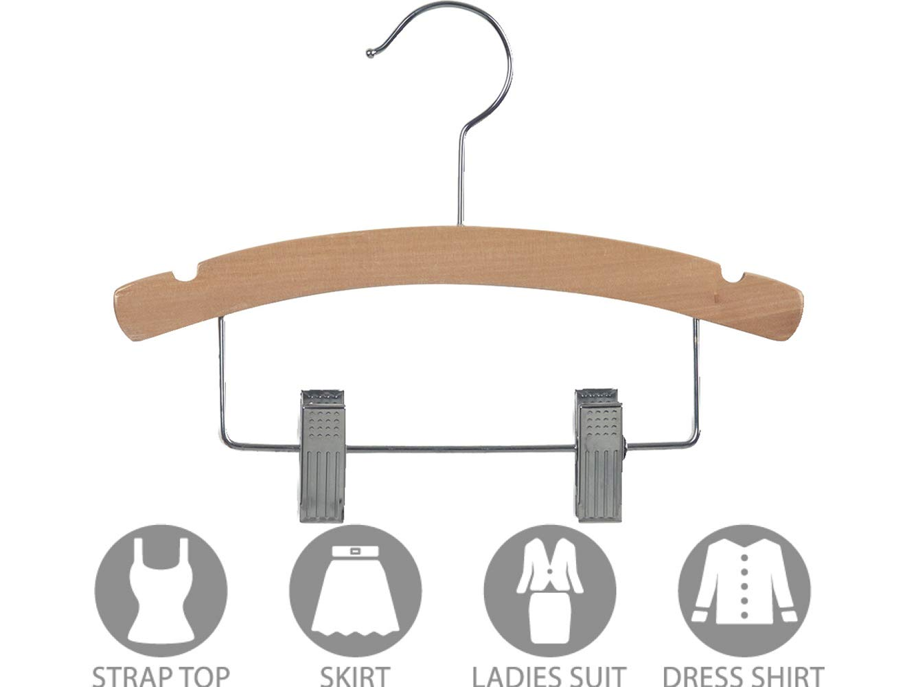 Kids Combo Hangers with Adjustable Clips and Natural Finish (Box of 100) by The Great American Hanger Company by The Great American Hanger Company (Image #3)