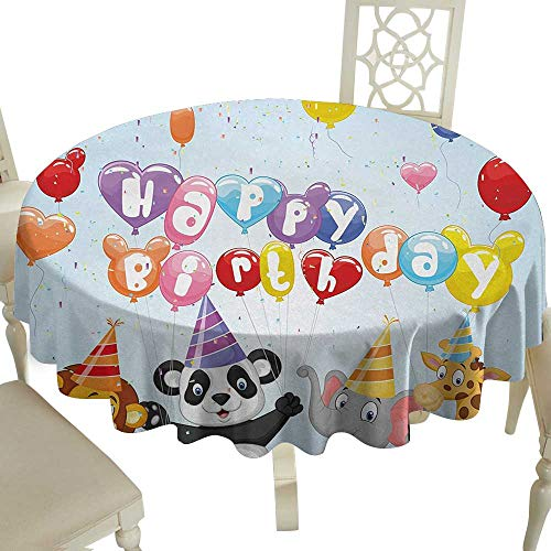 Cranekey Clear Round Tablecloth 65 Inch Kids Birthday,Cartoon Style Animals Panda Lion and Elephant with Balloons and Flags Print,Multicolor Great for,Holiday & More