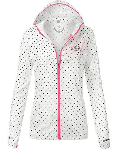 Water Resistant Lightweight Cute Dotted Rain Jackets, 095 - White Neon Pink, US L, 095 - White Neon Pink, Large