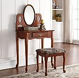 Simple Relax 1PerfectChoice Aldine Vanity Makeup Table Mirror w/ Photo Frames Set w/ Rectangular Stool Oak