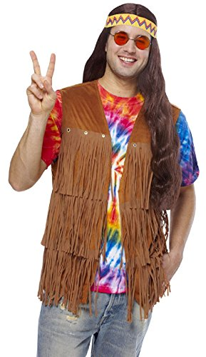 OvedcRay 1960S 60'S Adult Mens Male Peace Retro Hippie Fringe Costume Vest Xl Plus -
