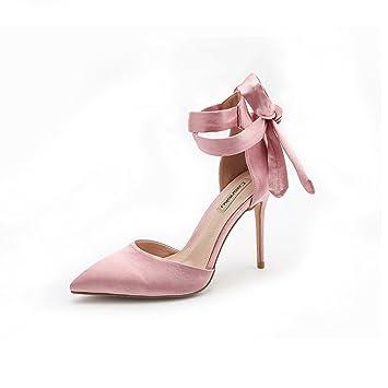 KaiGangHome Querband rosa High Heels Baotou hohlen Sandalen weiblich Single Nude Farbe fein mit spitzen Schuhen...