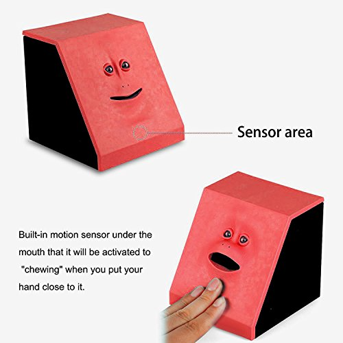 Coin Bank Eco-Home Money Eating Money Wrappers Battery Powered Face Monkey Saving Box - Blue (Red) Photo #8