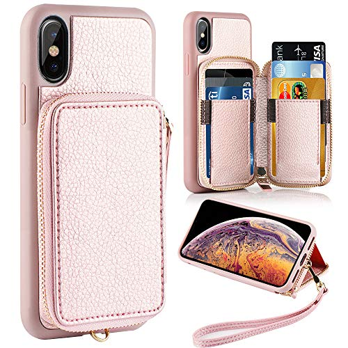 iPhone Xs Max Wallet Case, ZVE iPhone Xs Max Case with Credit Card Holder Slot Leather Wallet Zipper Pocket Purse Handbag Wrist Strap Case for Apple iPhone Xs Max - 6.5 inch 2018 - Rose Gold