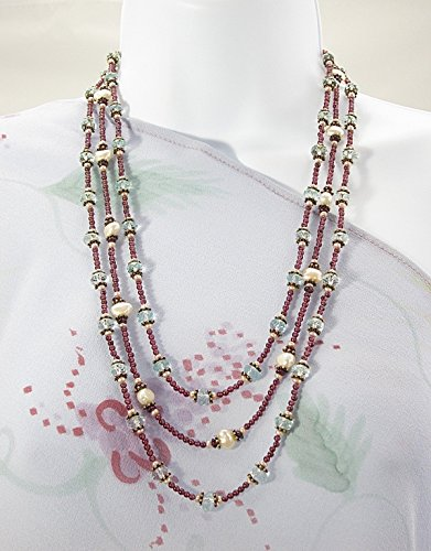 Triple strand garnet and pearl necklace