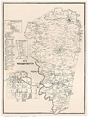 Woodford County Kentucky 1870 - Wall Map with Homeowner Names - Old Map Reprint