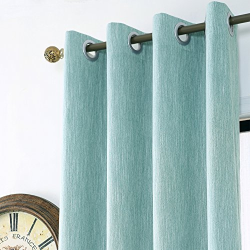 Melodieux Elegant Cotton Wide Blackout Thermal Insulated Grommet Top Curtains for Sliding Glass Door, 100 by 84 Inch, Aqua Blue (1 Panel)