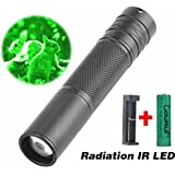 New hot CR-23 Torch 850nm Zoom Infrared Radiation IR LED Night Vision Flashlight Camping Light Hunting Lamp Flashlight + 18650 Battery + USB Charge