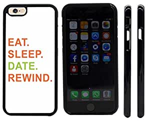 Rikki KnightTM Eat Sleep Date Rewind Orange & Green Design iPhone 6 Case Cover (Black Rubber with front bumper protection) for Apple iPhone 6