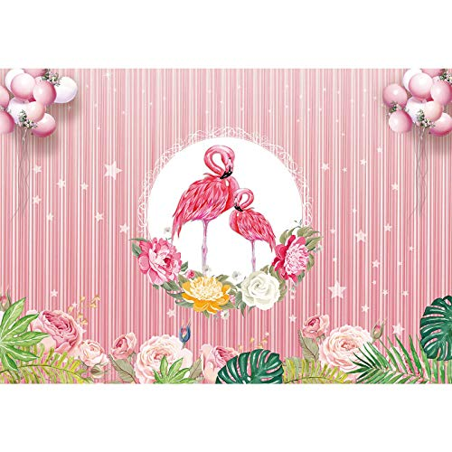 (7x5ft Durable/Soft Fabric Flamingo Theme Party Backdrop Flower Photography Background Bridal Baby Shower BirthdayRose Gold Party Banner Supplies Photo Studio Props)