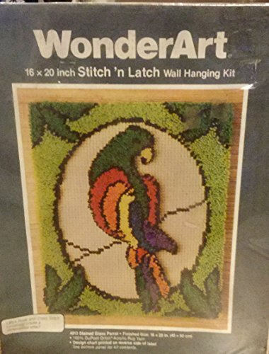 Wonderart Stitch N Latch Wall Hanging Kit Stained Glass Parrot (Cross Stitch Latch Hook)