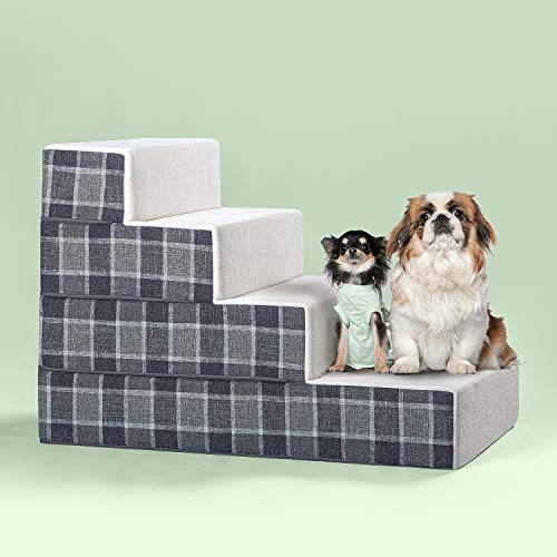 Zinus Cozy Pet Stairs/Pet Ramp/Pet Ladder/Grey Checked, X-Large