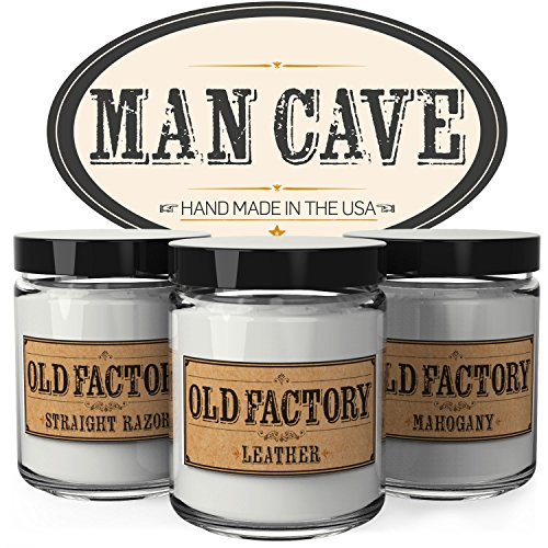Scented Candles - Man Cave - Set of 3: Straight Razor, Leather, and Mahogany - 3 x 4-Ounce Soy Candles - Each Votive Candle is Handmade in the USA with only the Best Fragrance (Manly Scent)