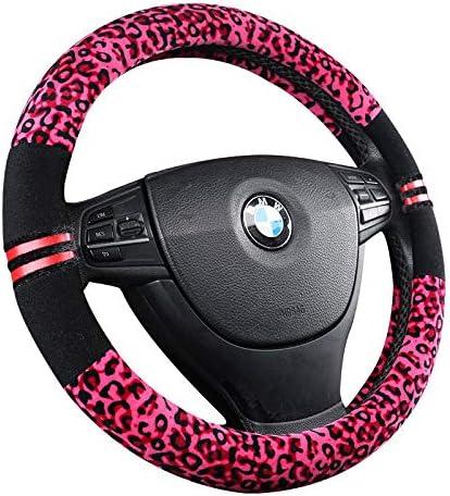 HCMAX Microfiber Vehicle Steering Wheel Cover Quality Comfy Car Steering Wheel Protector Universal Diameter 38cm Leather Gray 15