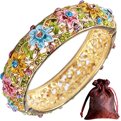 Pavaruni Traditional Gorgeous Chinese Cloisonne Bracelets, Rose Flower Retro Vintage Cultural Designed Enameled Jewelry, Cloisonné (Gorgeous Color(Bracelet)) ()
