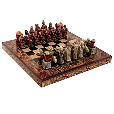 "Square 10"" x 10"" Chess Set Incas Vs Spanish Conquerors Peru Fair Trade"