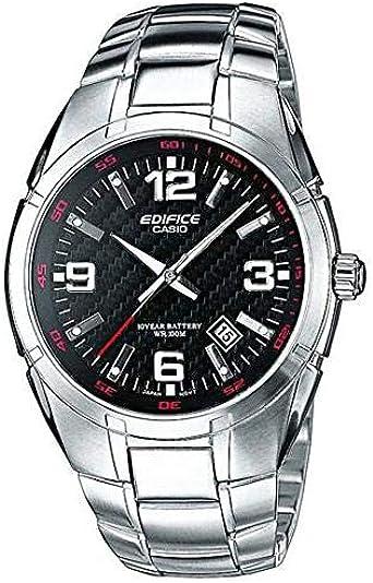 Casio EDIFICE Reloj en caja sólida, 10 BAR, Negro, para Hombre, con Correa de Acero inoxidable, EF-125D-1AVEF: Amazon.es: Relojes