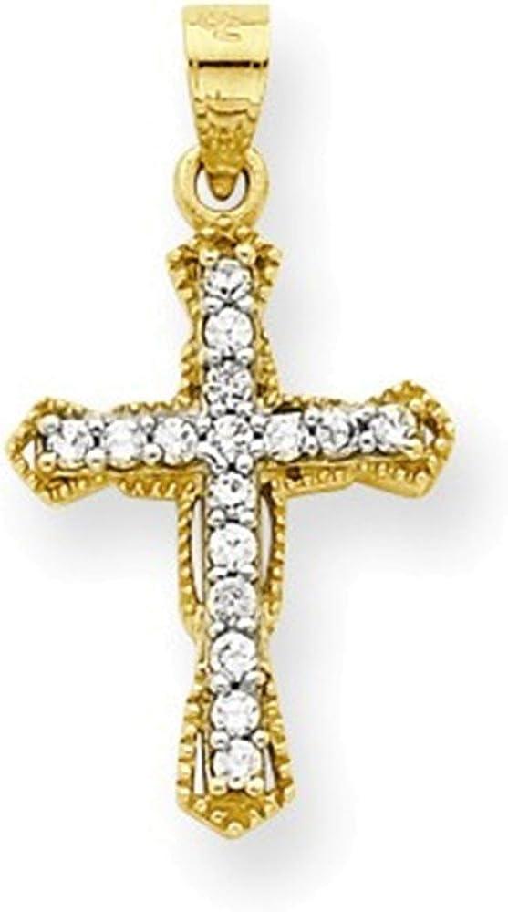 10K CZ Cross Pendant
