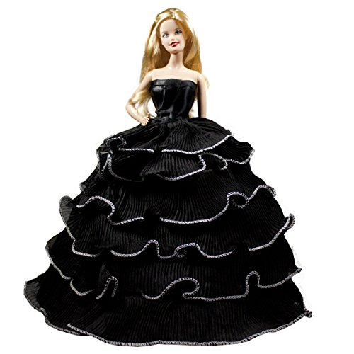 - Black Romantic Ball Gown Strapless Layered Ruffle Black Prom Gown Dress Fits For Barbie Doll