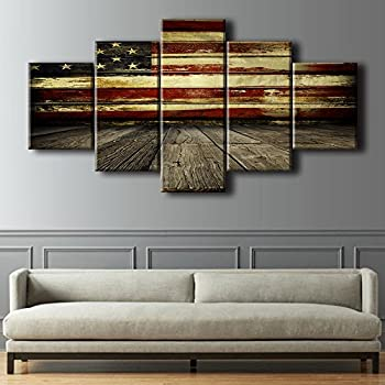 Wooden American Flag Wall Pictures For Living Room USA Canvas Print Retro  US Flag Modern Painting