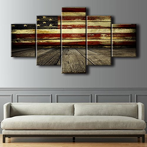 Wooden American Flag Wall Pictures for Living Room USA Canva