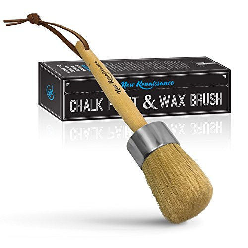 Professional Chalk Paint Wax Brush | Painting or Waxing | Annie Sloan Dark & Clear Soft Wax | Furniture, Stencils, Folkart, Home Decor, Wood | Large Brushes with Natural Bristles by New Renaissance (Brush Dry Stencil Paint)
