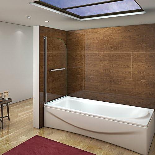 Panel/puerta de cristal con giro de 180 grados para la bañera con toallero.: Amazon.es: Hogar