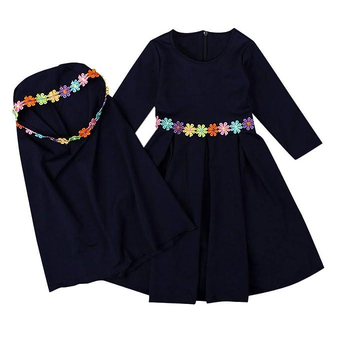 Amazon.com: Musulmán Islámico Bebé Niñas Abaya con Embroider ...