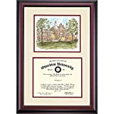 Otterbein Cardinals Diploma Frame Ivory Maroon Matting Watercolor