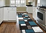 Contemporary Modern Boxes Area Rug Runner 2′ x 7'2″ Blue/Gray Review