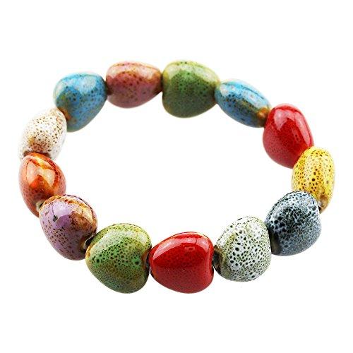 (FOY-MALL Fashion Heart Shaped Ceramic Beads Stretch Bracelet for Women Girls E1024)