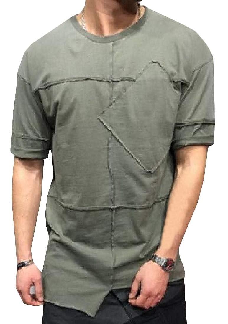 Joe Wenko Mens Irregular Striped Basic Crewneck Pullover Top Tee T-Shirts