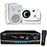 Pyle Stereo Receiver with Waterproof Speaker Package - PT260A 200 Watts Digital AM/FM Stereo Receiver Amplifier - PDWR30W 3.5'' Indoor/Outdoor Waterproof On-Wall Speakers (White) (Pair)