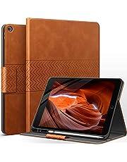 AUAUA Hoes voor iPad 9e generatie (2021) / iPad 8e generatie (2020) / 7e generatie (2019) 10,2 inch met Apple penhouder auto slaap/ontwaakfunctie PU lederen cover (bruin)