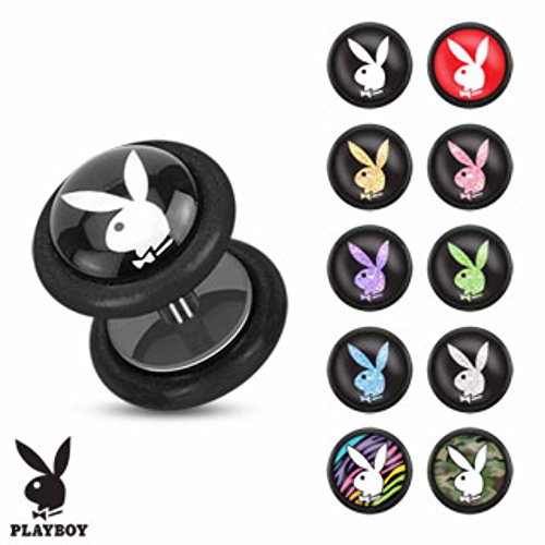 Pair of Playboy Bunny Logo Inlay 16ga Black Acrylic Fake Freedom Fashion Plug - Earrings Mens Playboy