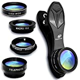 Cell Phone Camera Lens, Venyn 5 in 1 Kit - 15X Macro Lens, 2X Zoom Telephoto Lens, 0.63X Wide Angle Lens, 198°Fisheye Lens, CPL for iPhone X/8/7/6s/6Plus/5s & Samsung & Smartphone & Android