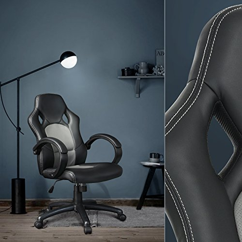 Executive Racing Style Office Chair PU Leather Swivel Computer Desk Seat High-Back Gaming Chair in Black