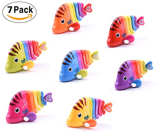7 Pack Wind-Up Fish Toys for Kids Party Favors