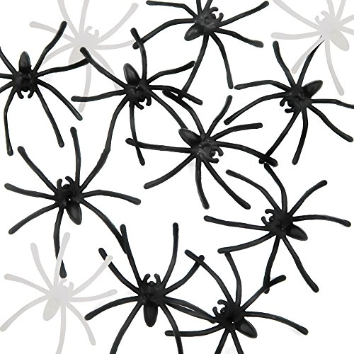 TOAOB 144pcs Black Spider Small Fake Spider Halloween Spiders Glow in The Dark Spiders 1 1/2