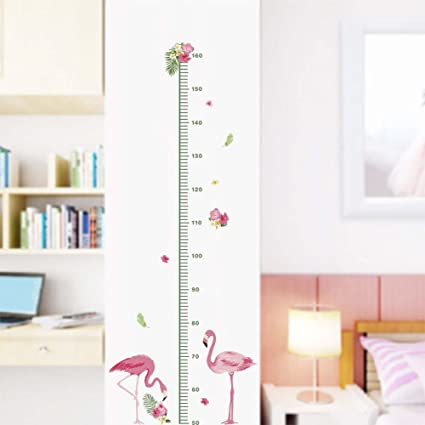 B. BIBITIME DIY Flamingo Growth Chart For Children Bedroom Nursery Kids  Room Decor Tropical Floral