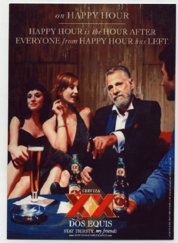 Dos Equis metal counter display sign - Dos XX Happy Hour -