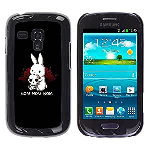 TECHCASE**Cubierta de la caja de protección la piel dura para el ** Samsung Galaxy S3 MINI NOT REGULAR! I8190 I8190N ** Black Monster Cute Bunny Skull Funny