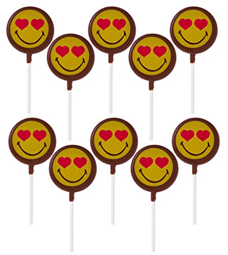 Smiley World Emoji Face Expressions Dairy Milk Chocolate Heart Lollipops Suckers