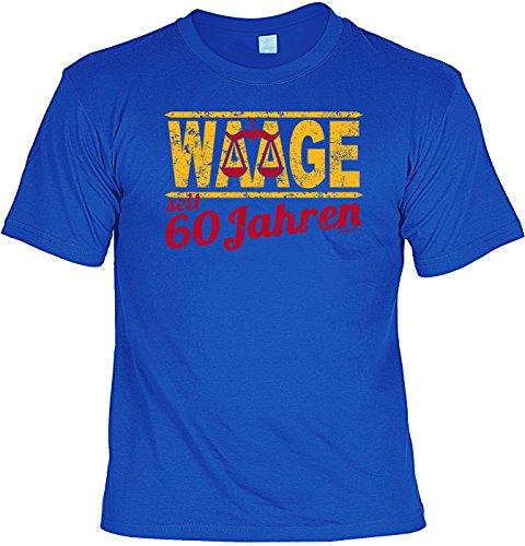 T-Shirt - Sternzeichen-Shirt Waage seit 60 Jahren - das besondere Shirt mit lustigem Print als ideales Geburtstagsgeschenk für Leute mit Humor