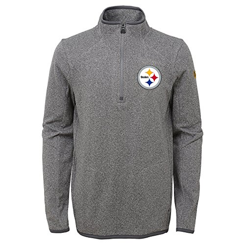 Steelers Pittsburgh Pullover - Outerstuff NFL Pittsburgh Steelers Youth Boys Motion 1/4 Zip Performance Top, Grey, Youth Medium(10-12)