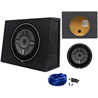 Package: Rockford Fosgate P3SD4-12 Punch 12 800 Watts Peak/400 Watts Dual 4-Ohm Shallow Mount Car Subwoofer + Rockville RSST12 Single 12 0.9cu.ft. Sealed Shallow Mount Subwoofer Enclosure Box + Single Enclosure Wire Kit With 14 Gauge Speaker Wire