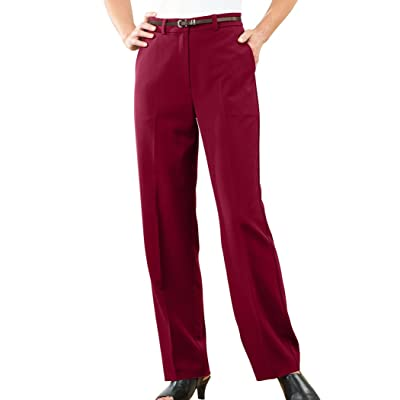 AmeriMark Women's Straight-Leg Pants Classic Tailored Slacks Stretch Knit at Women's Clothing store