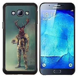 Qstar Arte & diseño plástico duro Fundas Cover Cubre Hard Case Cover para Samsung Galaxy A8 A8000 (Retro ciervos Astronauta)