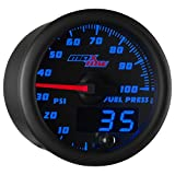 diesel fuel pressure gauge - MaxTow Double Vision 100 PSI Fuel Pressure Gauge Kit - Includes Electronic Sensor - Black Gauge Face - Blue LED Illuminated Dial - Analog & Digital Readouts - for Trucks - 2-1/16