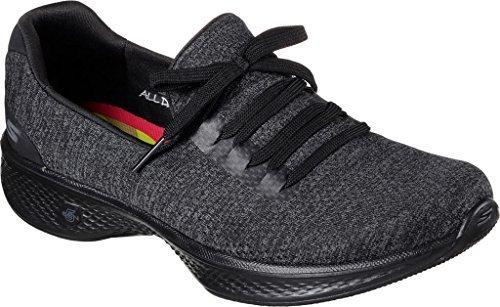 (Skechers Womens GOwalk 4 All Day Comfort Walking Sneaker,Black/Gray Heather,US)